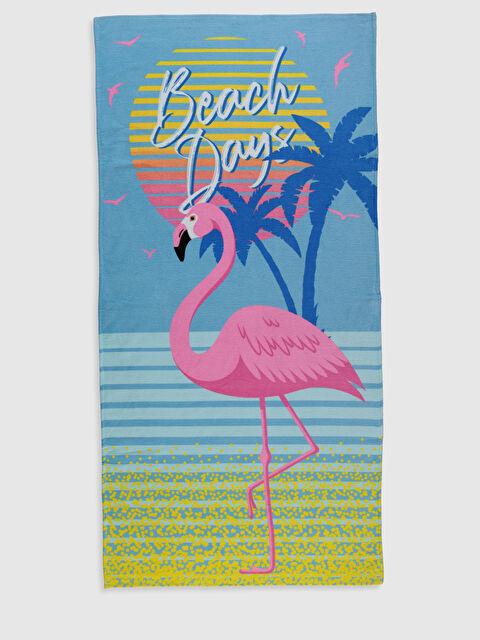 Kız Çocuk Flamingo Baskılı Kadife Plaj Havlusu - LC WAIKIKI