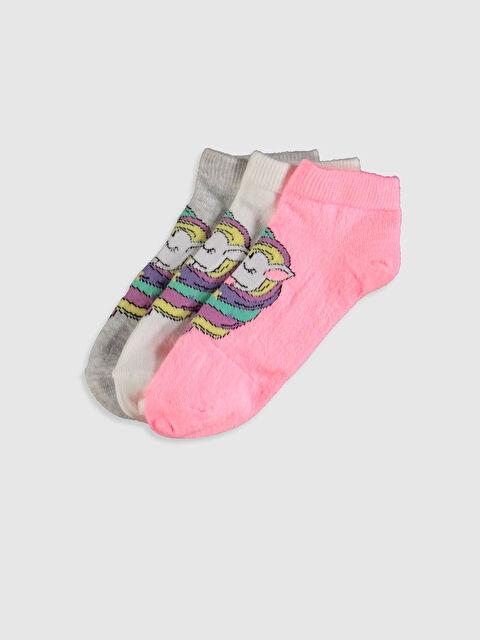 Kız Çocuk Unicorn Desenli Patik Çorap 3'lü - LC WAIKIKI