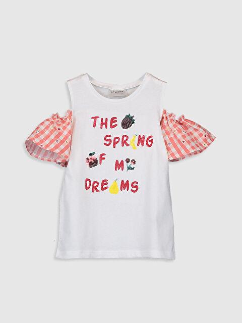 Kız Çocuk Omuzu Açık Pamuklu Tişört - LC WAIKIKI