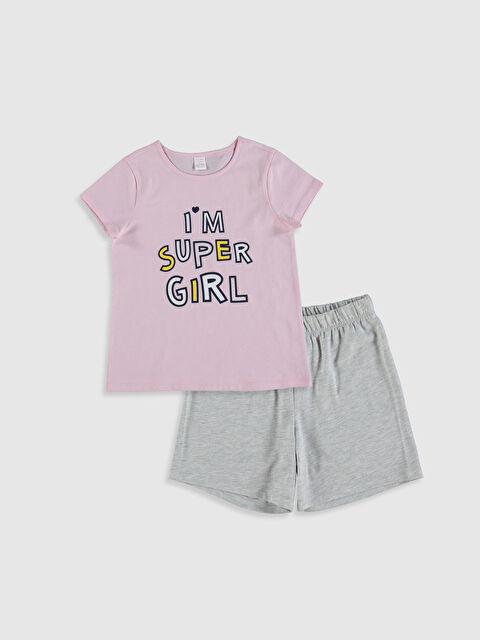 Aile Koleksiyonu Kız Çocuk Baskılı Pamuklu Pijama Takımı - LC WAIKIKI