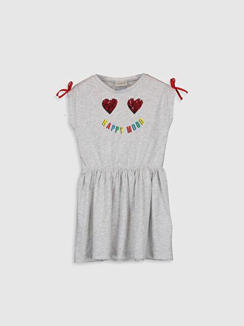 Kız Çocuk Baskılı Pul İşlemeli Elbise - LC WAIKIKI