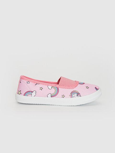 Kız Çocuk Unicorn Baskılı Bez Babet Ayakkabı - LC WAIKIKI