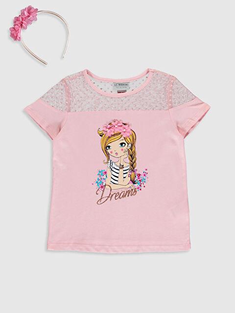 Kız Çocuk Baskılı Pamuklu Tişört ve Taç - LC WAIKIKI