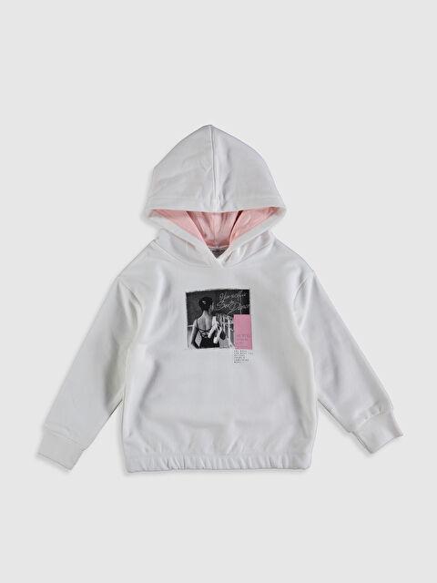 Kız Çocuk Baskılı Kapüşonlu Sweatshirt - LC WAIKIKI
