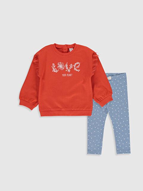 Kız Bebek Baskılı Sweatshirt ve Tayt - LC WAIKIKI