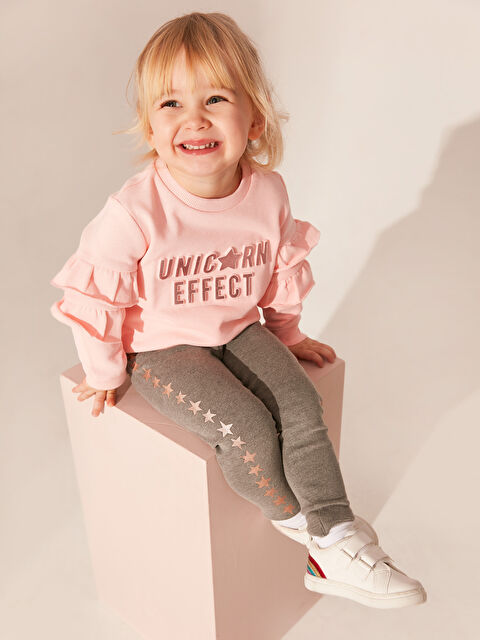 Kız Bebek Yazı Basklı Sweatshirt - LC WAIKIKI