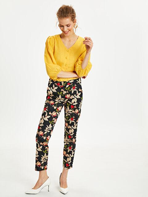Çiçek Desenli Düz Paça Kumaş Pantolon - LC WAIKIKI