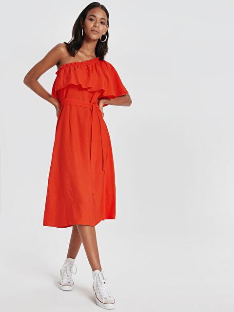 Tek Omuz Fırfır Detaylı Viskon Elbise - LC WAIKIKI