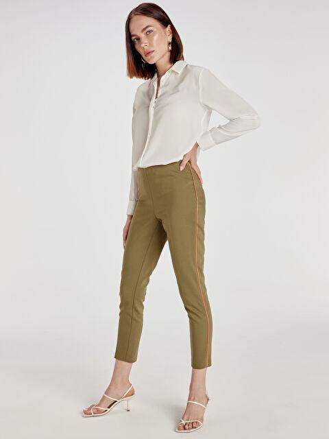 Şerit Detaylı Bilek Boy Skinny Kumaş Pantolon - LC WAIKIKI