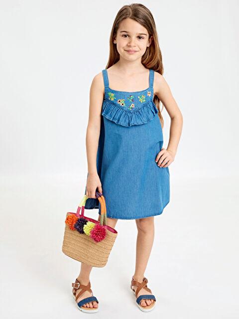 Kız Çocuk Fırfır ve Nakışlı Jean Elbise - LC WAIKIKI
