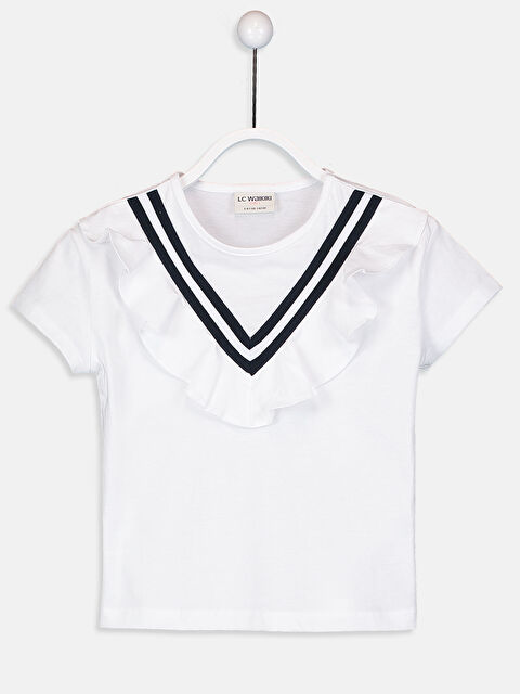 Kız Çocuk Fırfırlı Pamuklu Tişört - LC WAIKIKI