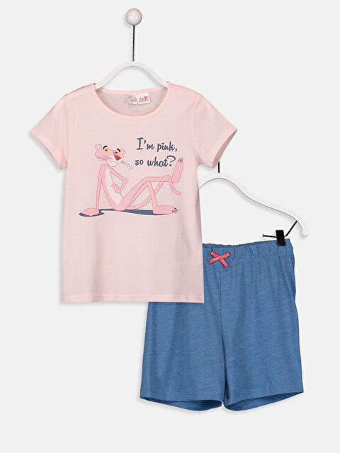 Kız Çocuk Pembe Panter Pamuklu Pijama Takımı - LC WAIKIKI