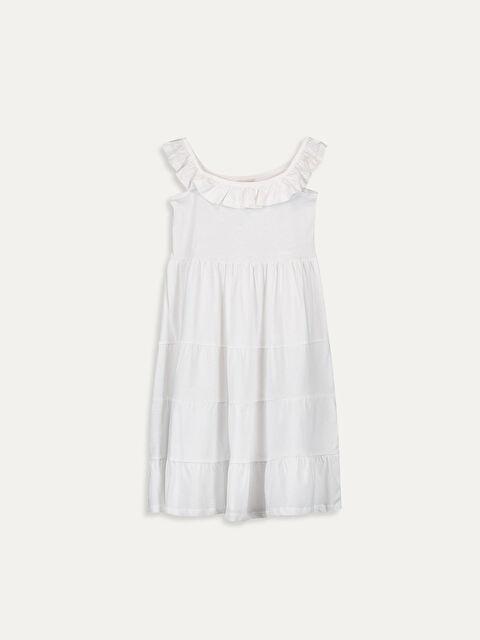 Kız Çocuk Yakası Fırfırlı Pamuklu Elbise - LC WAIKIKI