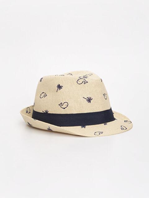 Erkek Bebek Desenli Hasır Şapka - LC WAIKIKI