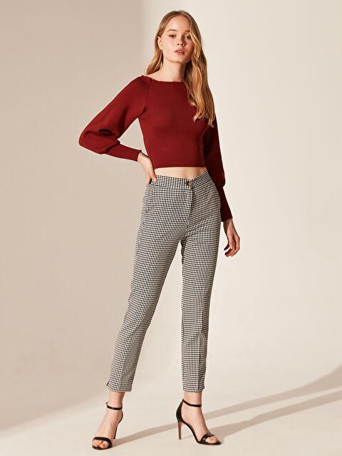 Nisan Triko Ekose Kumaş Pantolon - Markalar