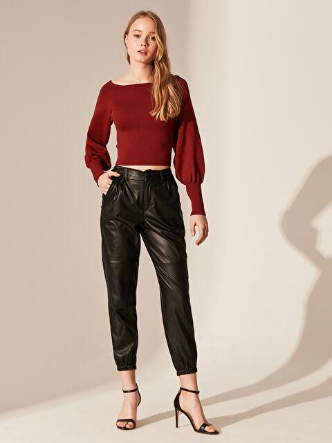 Nisan Triko Deri Görünümlü Pantolon - Markalar