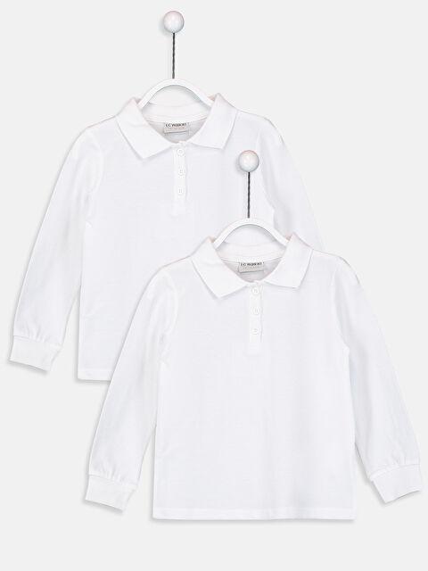 Kız Çocuk Polo Yaka Pamuklu Tişört 2'li - LC WAIKIKI