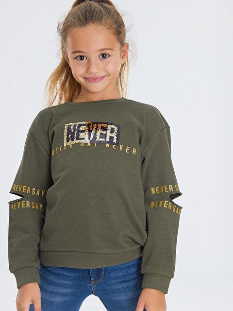 Kız Çocuk Çift Yönlü Payetli Sweatshirt - LC WAIKIKI