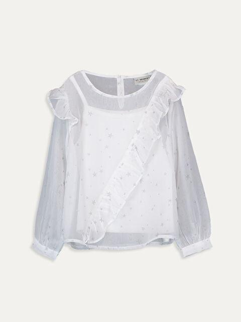 Kız Çocuk Fırfırlı Saten Bluz - LC WAIKIKI