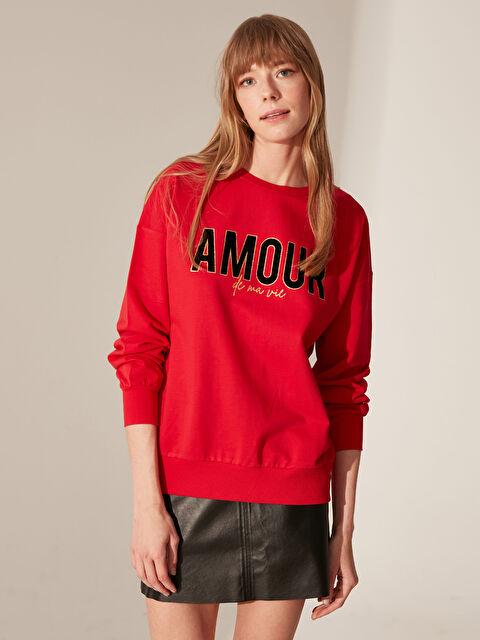 Slogan Baskılı Pamuklu Sweatshirt - LC WAIKIKI