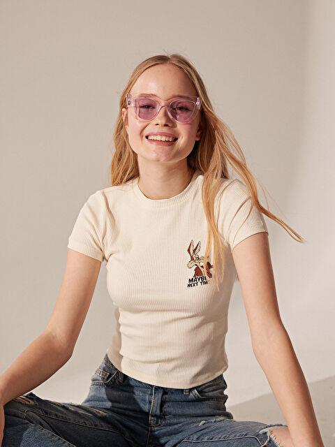 Yakası İşlemeli Pamuklu Tişört - LC WAIKIKI