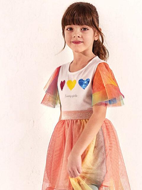 Kız Çocuk Pul İşlemeli Tişört - LC WAIKIKI