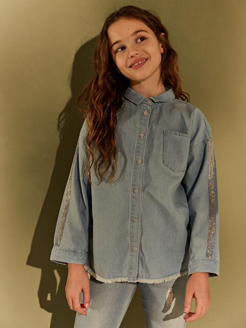 Kız Çocuk Pul İşlemeli Jean Gömlek - LC WAIKIKI