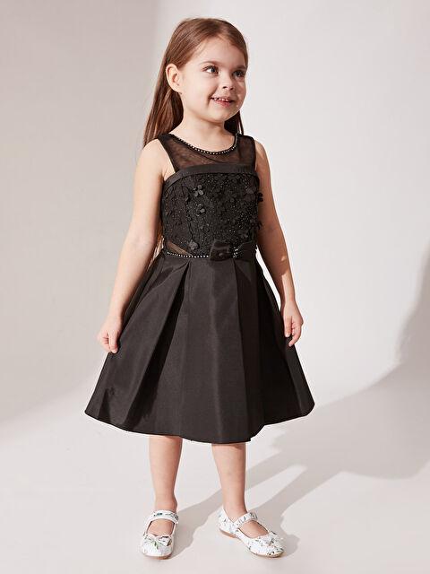 Daisy Girl Kız Çocuk Çiçekli Fiyonk Detaylı Detaylı Abiye Elbise - Markalar