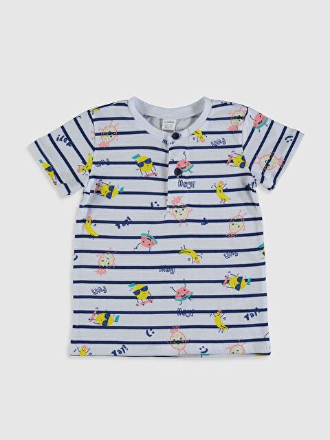 Erkek Bebek Çizgili Baskılı Pamuklu Tişört - LC WAIKIKI