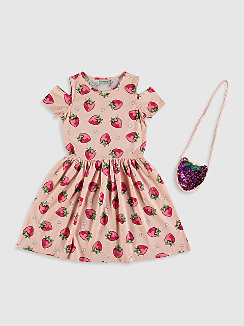 Kız Çocuk Omuzu Açık Elbise ve Çanta - LC WAIKIKI