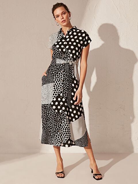 Kuşaklı Desenli Gömlek Elbise - LC WAIKIKI