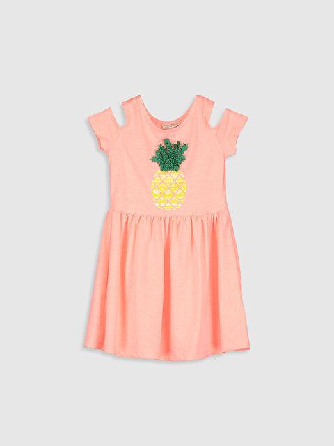 Kız Çocuk Baskılı Omuzu Açık Elbise - LC WAIKIKI