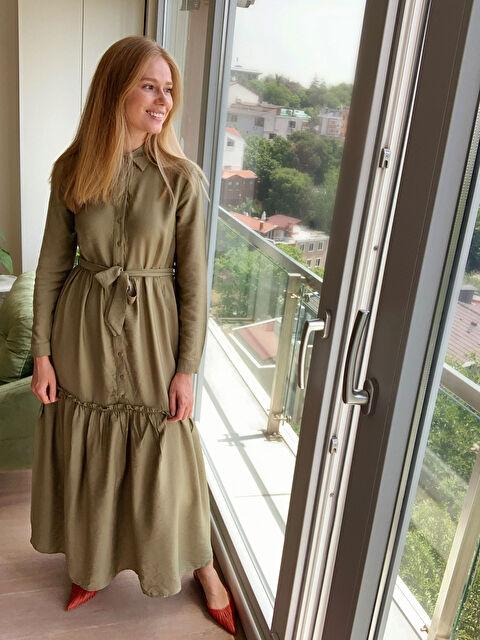 Kuşaklı Fırfır Detaylı Uzun Elbise - LC WAIKIKI