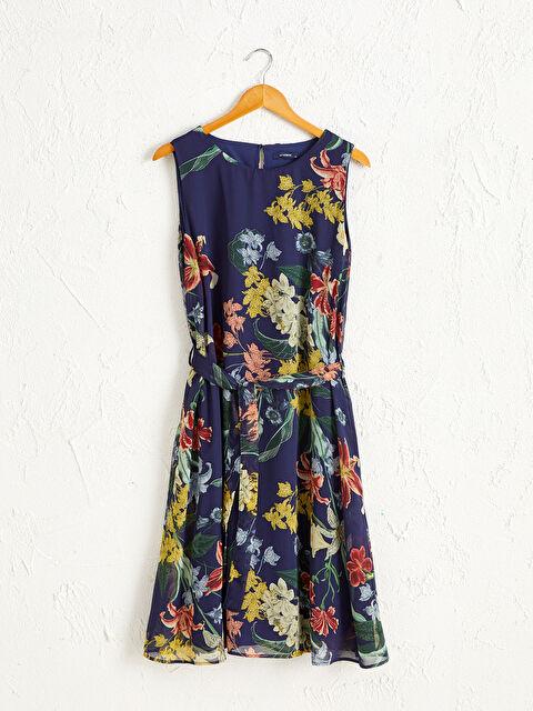 Kuşaklı Çiçek Desenli Şifon Elbise - LC WAIKIKI
