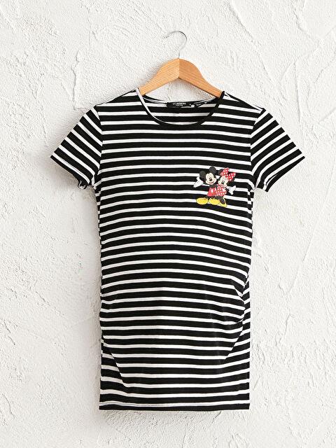 Mickey Mouse Baskılı Çizgili Hamile Tişört - LC WAIKIKI