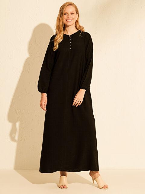 Düğme Detaylı Uzun Viskon Elbise - LC WAIKIKI
