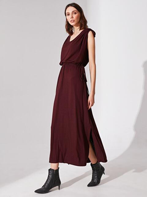 Re-SIS Bağlama Detaylı Yırtmaçlı Viskon Elbise - Markalar