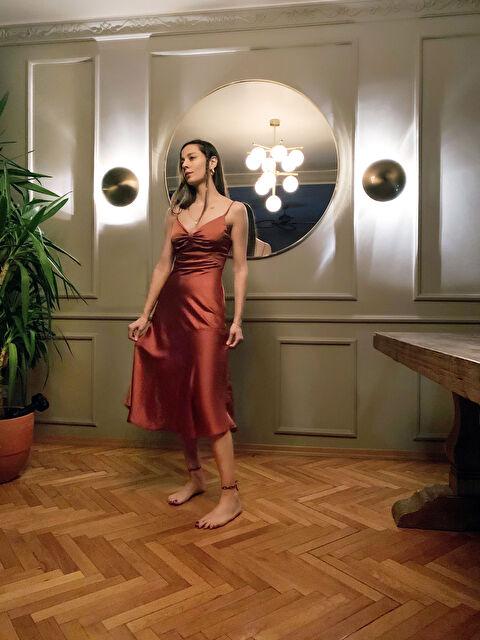 Appleline Büzgü Detaylı Askılı Elbise - LC WAIKIKI