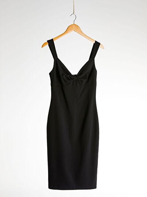 Appleline Yakası Büzgü Detaylı Askılı Kalem Elbise - LC WAIKIKI