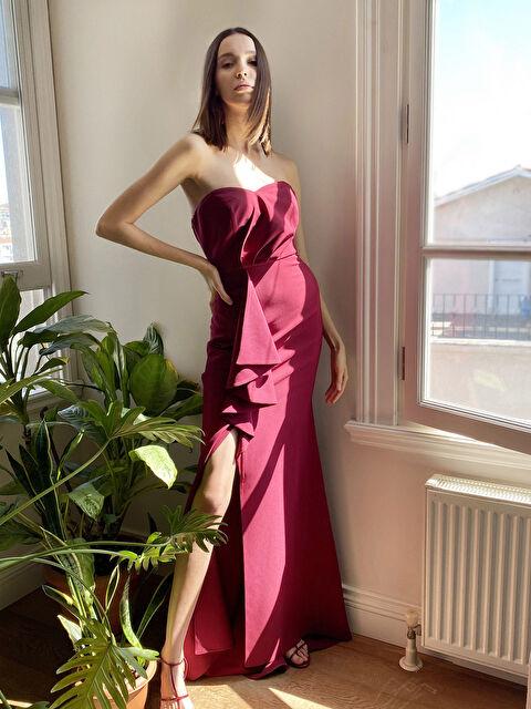 Appleline Fırfır Detaylı Straplez Abiye Elbise - LC WAIKIKI