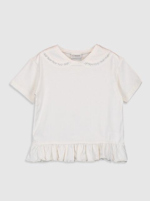 Kız Çocuk Dantel Detaylı Pamuklu Tişört - LC WAIKIKI