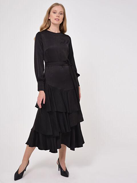 Fırfır Detaylı Kuşaklı Uzun Elbise - LC WAIKIKI