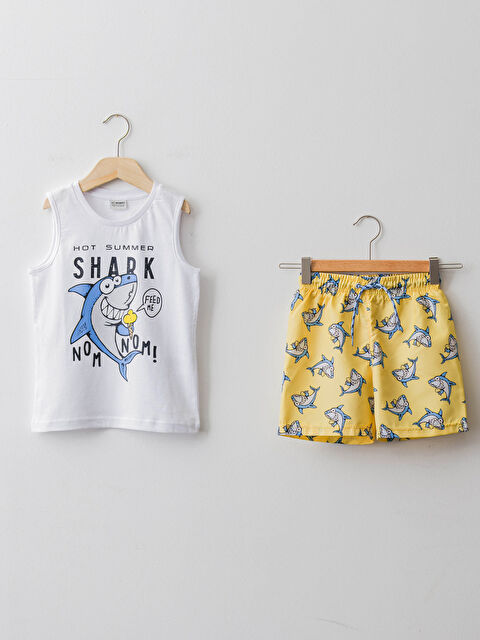 Crew Neck Printed Boy Swimming Suit - LC WAIKIKI