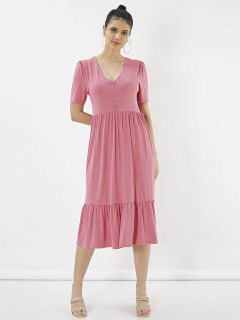 Eoselio Düğme Detaylı Volanlı Midi Elbise - Markalar