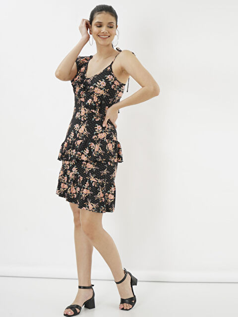 Eoselio Çiçek Baskılı Fırfır Detaylı Askılı Elbise - Markalar