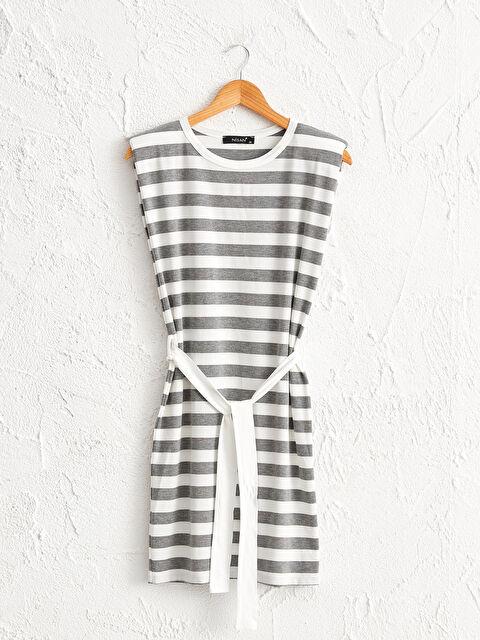 Nisan Triko Kuşaklı Çizgili Elbise - Markalar