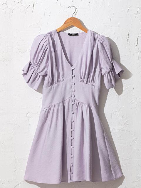 Quzu V Yaka Büzgülü Elbise - Markalar