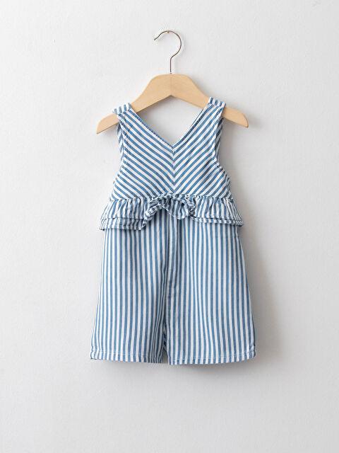 V Neck Striped Cotton Baby Girl Jean Salopet - LC WAIKIKI