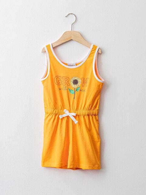 Crew Neck Printed Girl Short Jumpsuit - LC WAIKIKI