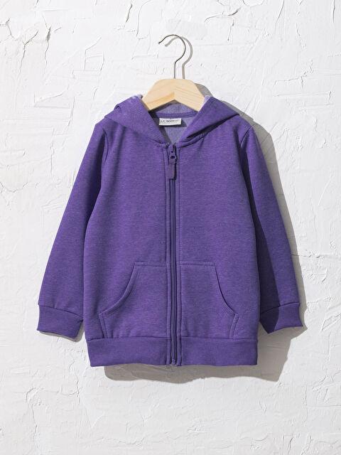 Kız Çocuk Fermuarlı Kapüşonlu Sweatshirt - LC WAIKIKI